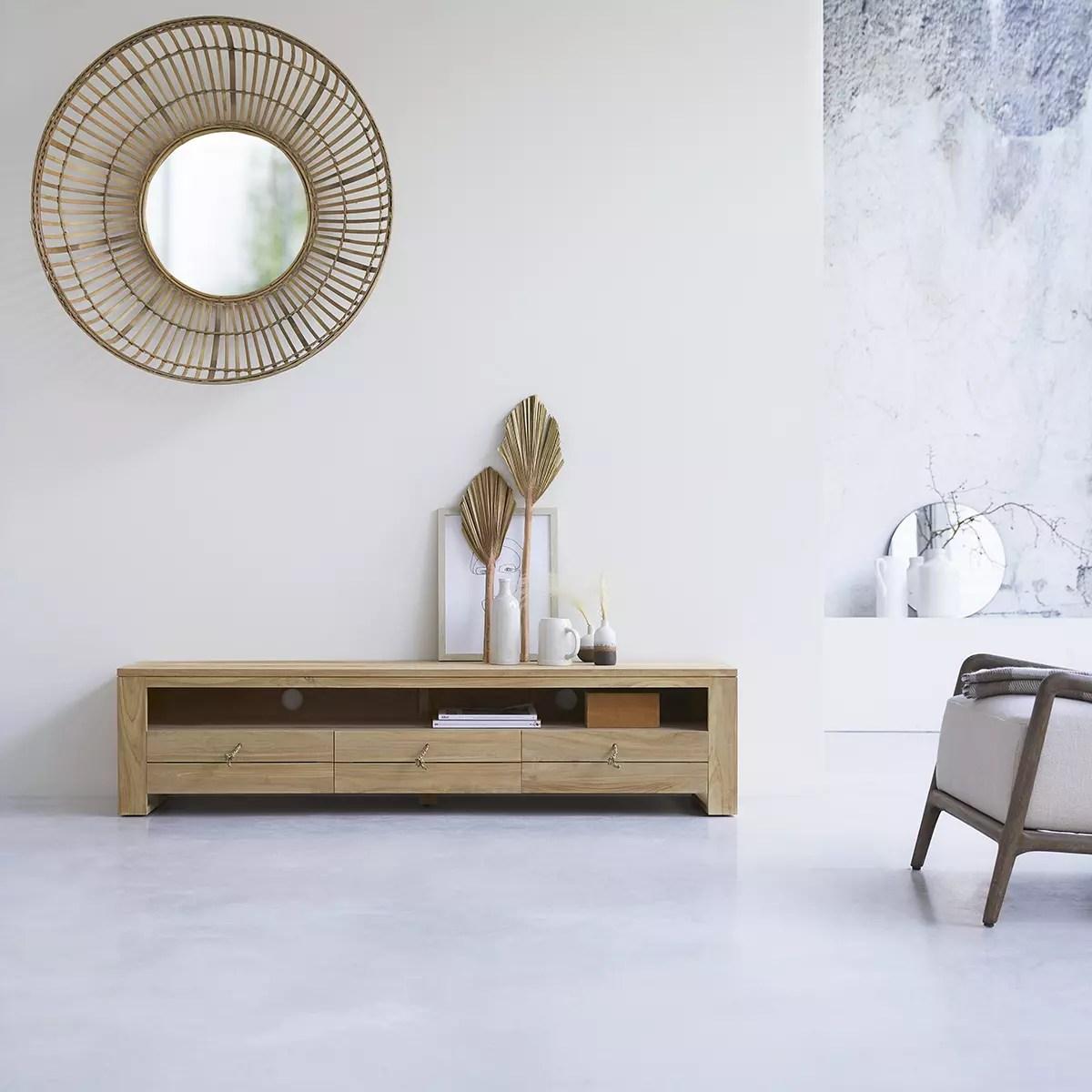 meuble tv en teck massif minimalys 170 cm