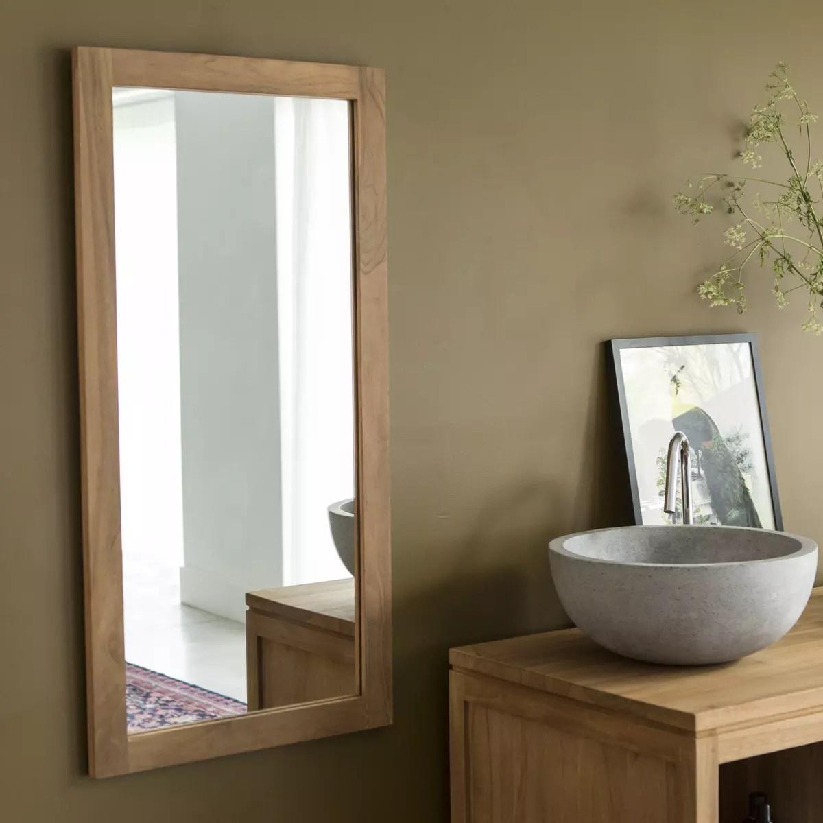Miroir En Teck 100 X 50 Cm Accessoires Pour Salle De Bain Tikamoon