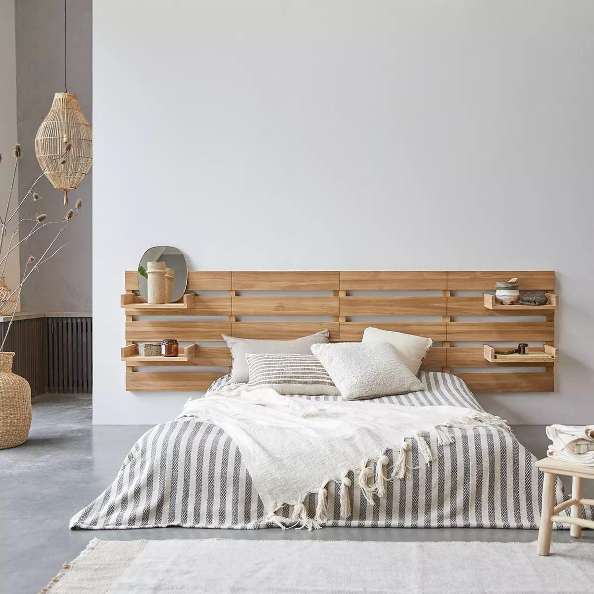 tete de lit en teck massif 270 cm urbain