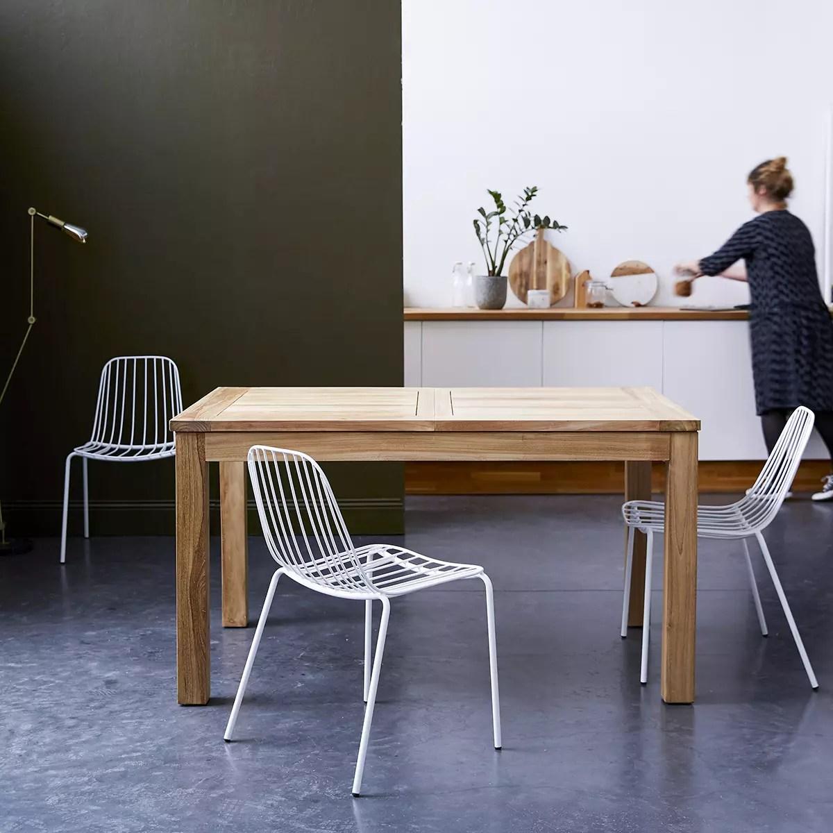 table en teck massif a rallonge 140x90 cloe