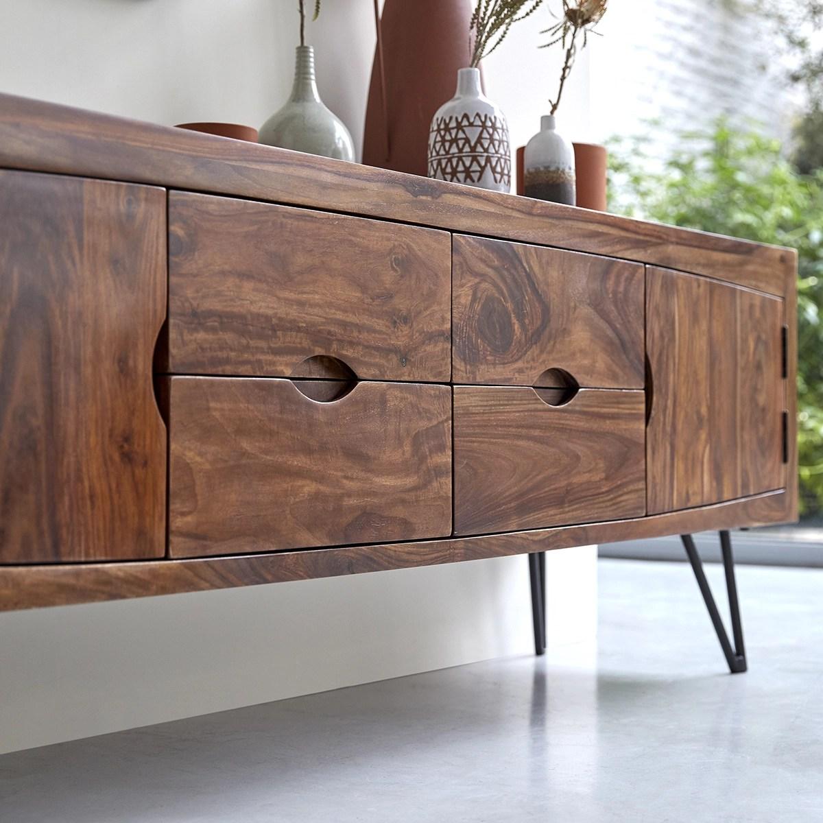 tv schrank aus massivem palisanderholz bonnie 180 cm