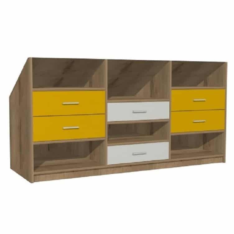 meuble sous pente arriere sur mesure avec niches et tiroirs