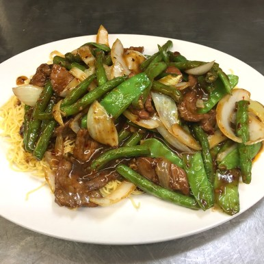 Beef & String Beans with Mixed Vegetables on Soft Noodles