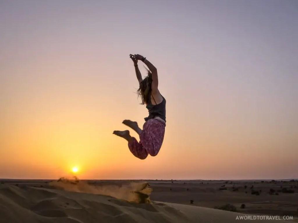 Jumping in the Thar Desert India