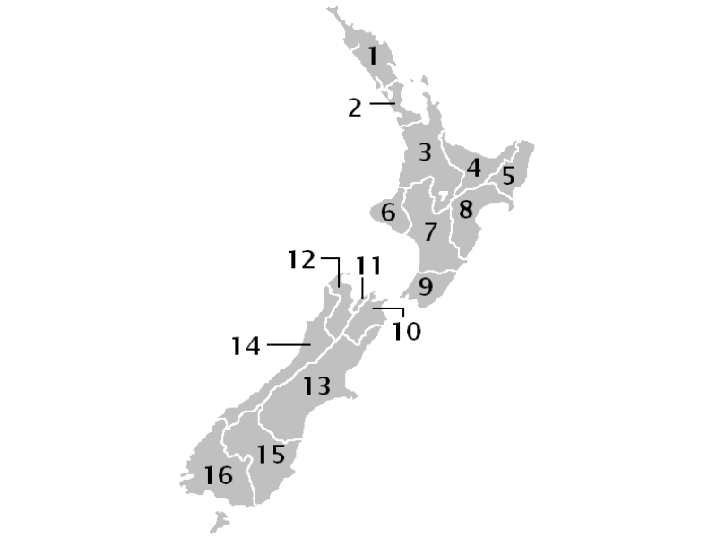 map of new zealand regions
