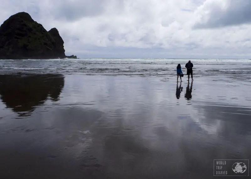 black sand beaches auckland