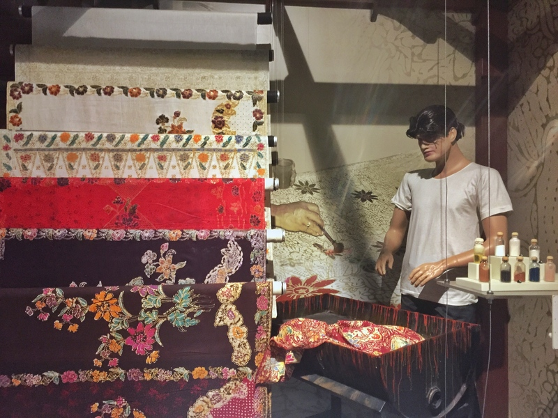 textile display in museum
