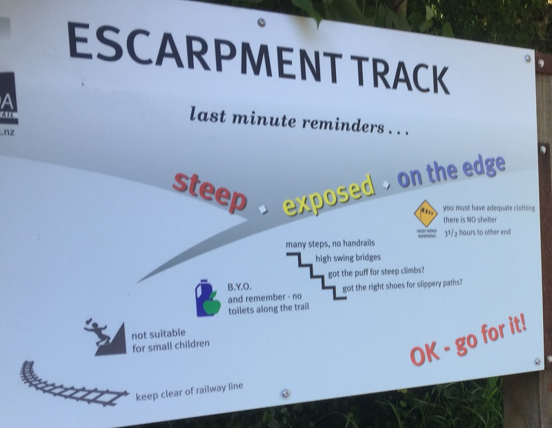 escarpment trail warnings