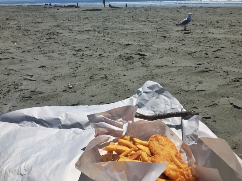 fish and chips in new zealand at the beach