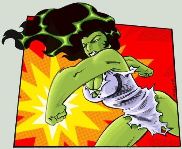 She Hulk punching She Hulk punching