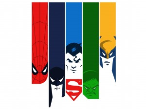Spider-man, Batman, Superman, Hulk, Wolverine