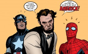 captain america and spider-man help abe lincoln save america