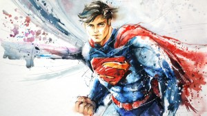 sexy superman in waterpaints