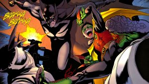 batman and robin taking on the bad guys