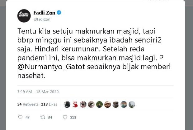 Fadli Zon Nasihati Gatot Nurmantyo Soal Ajakan Makmurkan Masjid di Tengah Corona
