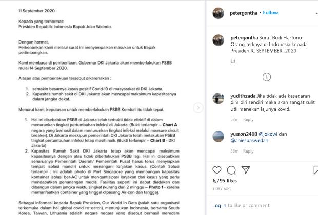 Beredar, Surat Terbuka Bos Besar Djarum dan BCA Minta Jokowi Tolak PSBB Total Versi Anies