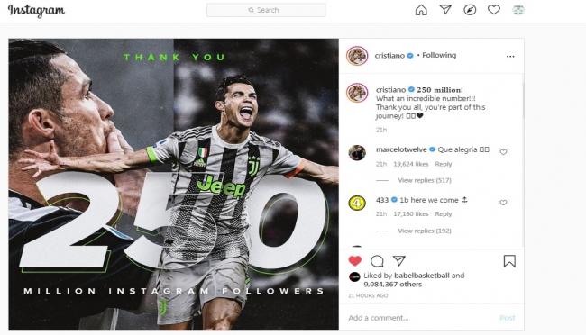 Top! Cristiano Ronaldo jadi Manusia Pertama dengan Pengikut 250 Juta di Instagram