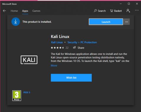Cara Install Kali Linux di Windows 10 Store