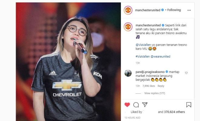 Publik Geger, Akun Instagram Manchester United Unggah Foto Via Vallen