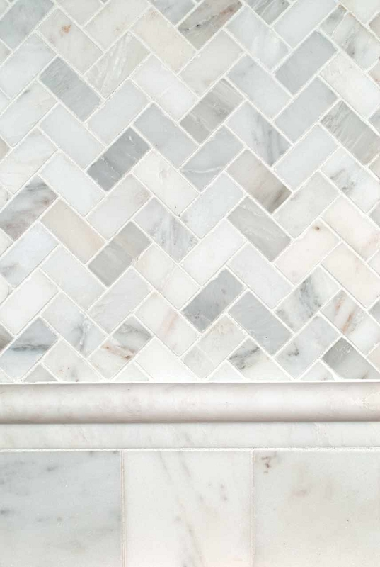 Arabescato Carrara Herringbone Backsplash
