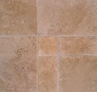 Versailles Pattern Tiles - Cappuccino Tumbled Travertine Tile