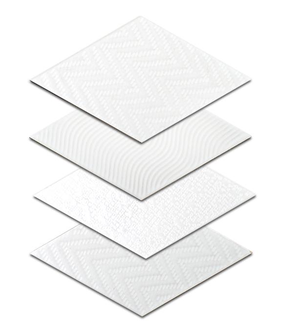 porcelain wall tile 6x10 rhombus white