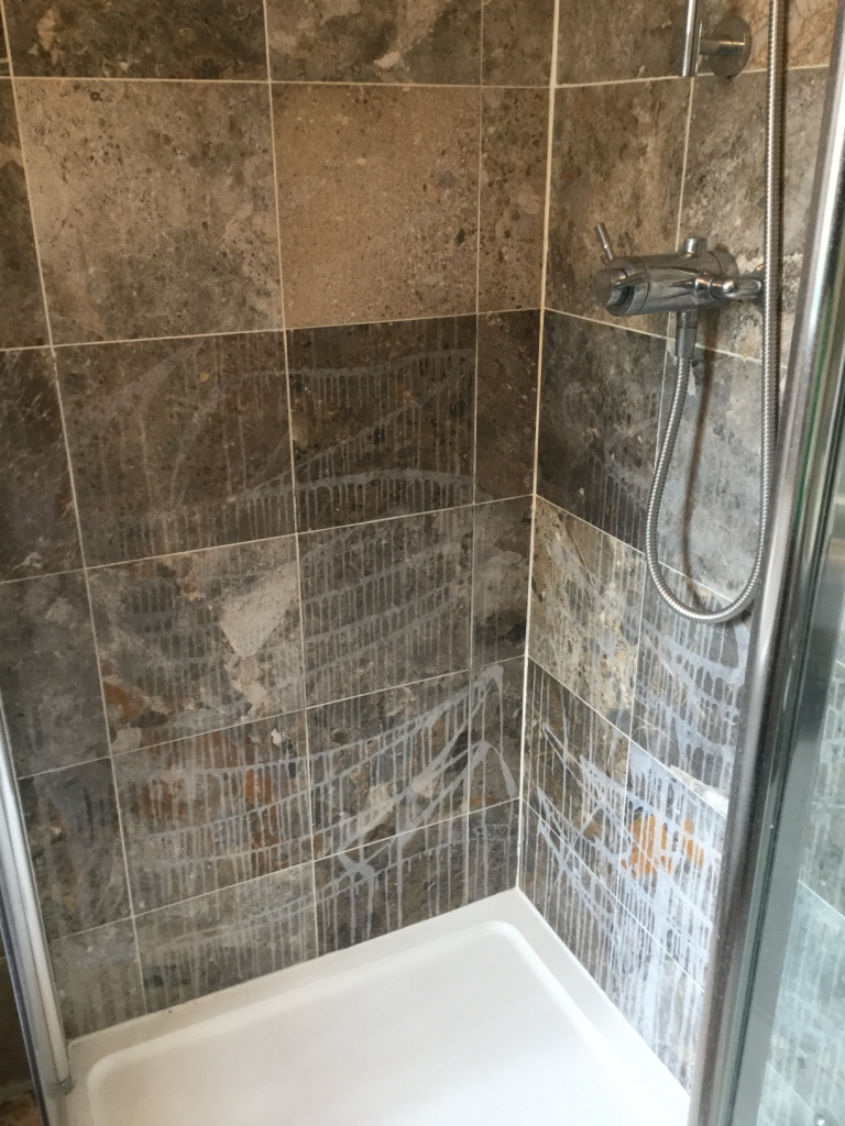 Ruined Marble Shower Tiles Restored in Sharnbrook