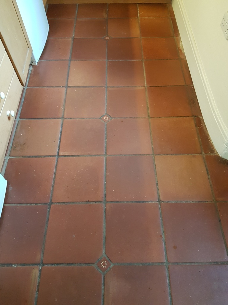 Dirty Mexican Terracotta Tile and Grout Deep Cleaned and