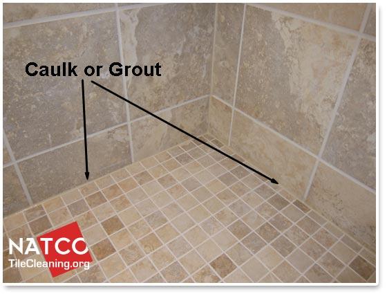 caulk be installed in a tile shower
