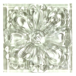 Glass Tile Relief Deco  4 X 4 Large Glass Flower Deco