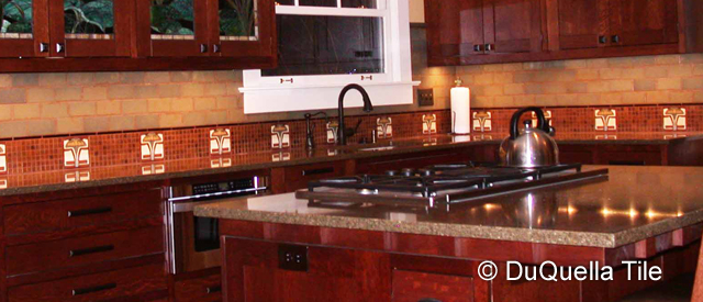 decorative ceramic tiles kitchen tops cabinets duquellatile handcrafted in arts and crafts art tile installations