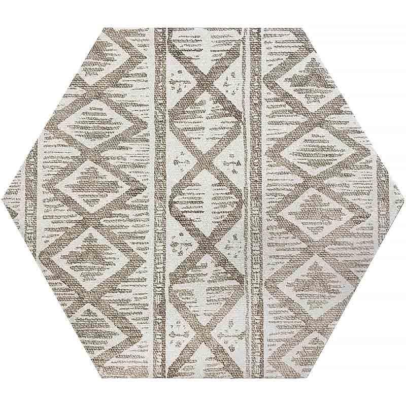 Mir Movement Ivory Hexagon Deco Subway Wall Tile