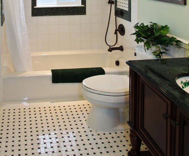 35 Black And White Marble Bathroom Floor Tiles Ideas And