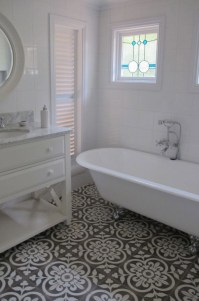 Black And White Tiles Bathroom Floor With Creative Image ...