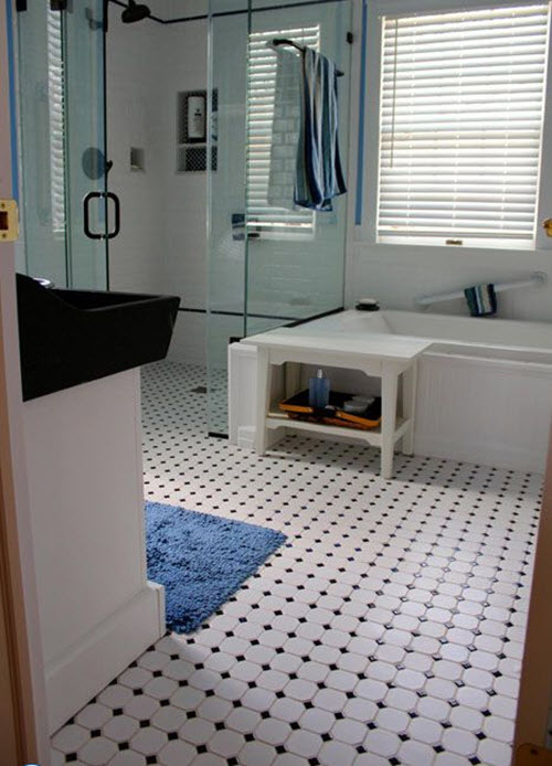27 black and white octagon bathroom tile ideas and