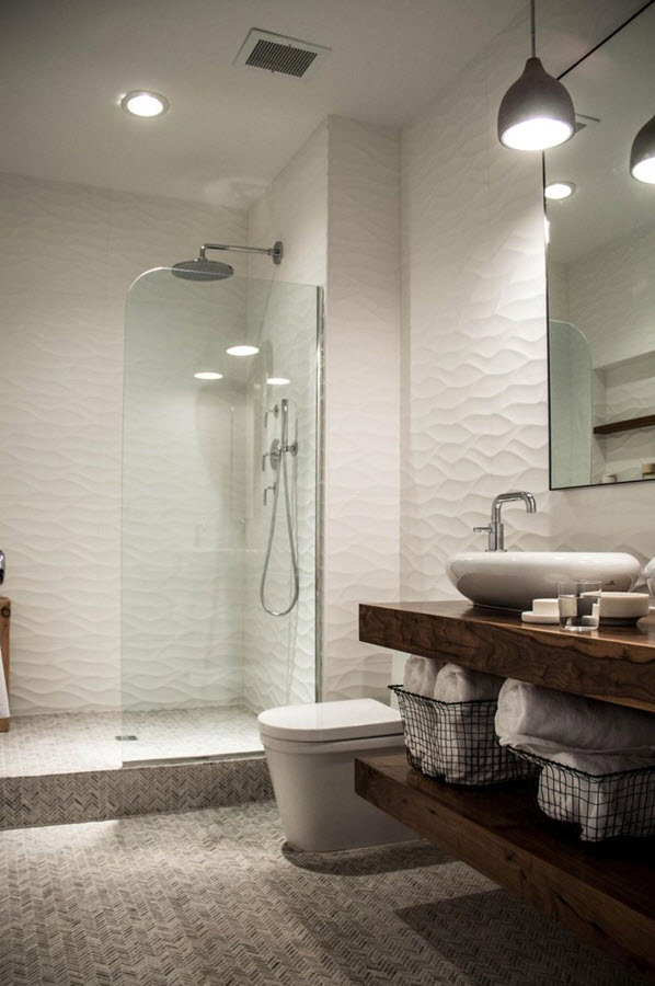 20 white ripple bathroom tiles ideas and pictures 2019
