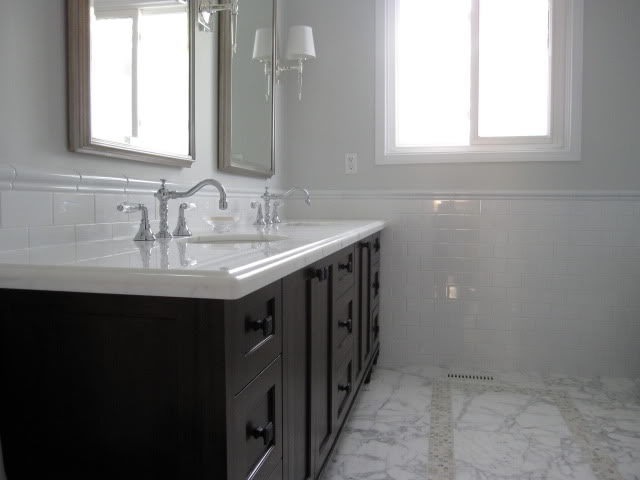 30 ideas of a bathroom with subway tile and chair rail