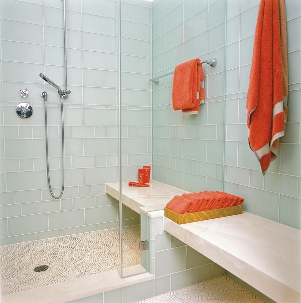 Glass Tile Bathroom with Shower