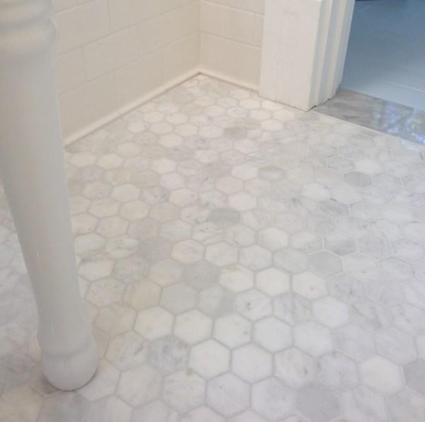 White Marble Hexagon Floor Tiles Bathroom