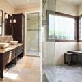 Small cool bathroom cream granite flooring bathroom decor ideas modern