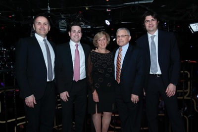 Pictured from left to right: Emilio Mussini, vice president of promotional activites for Confindustria Ceramica; Matthew Karlin, Ruth Karlin, and Bert Karlin of Nemo Tile Company; and Vittorio Borelli, president of Confindustria Ceramica.
