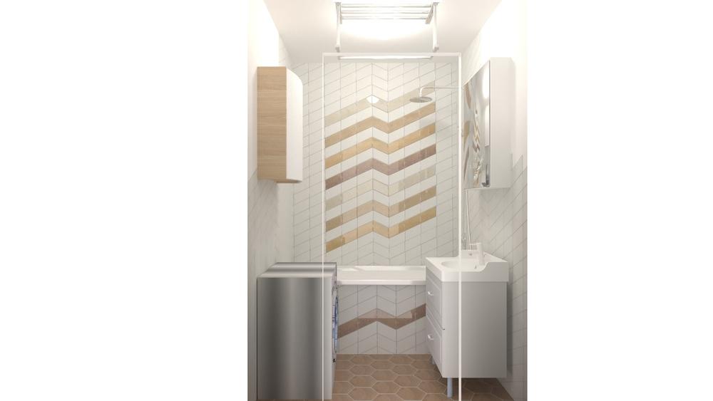 chevron wood v2 modern bathroom