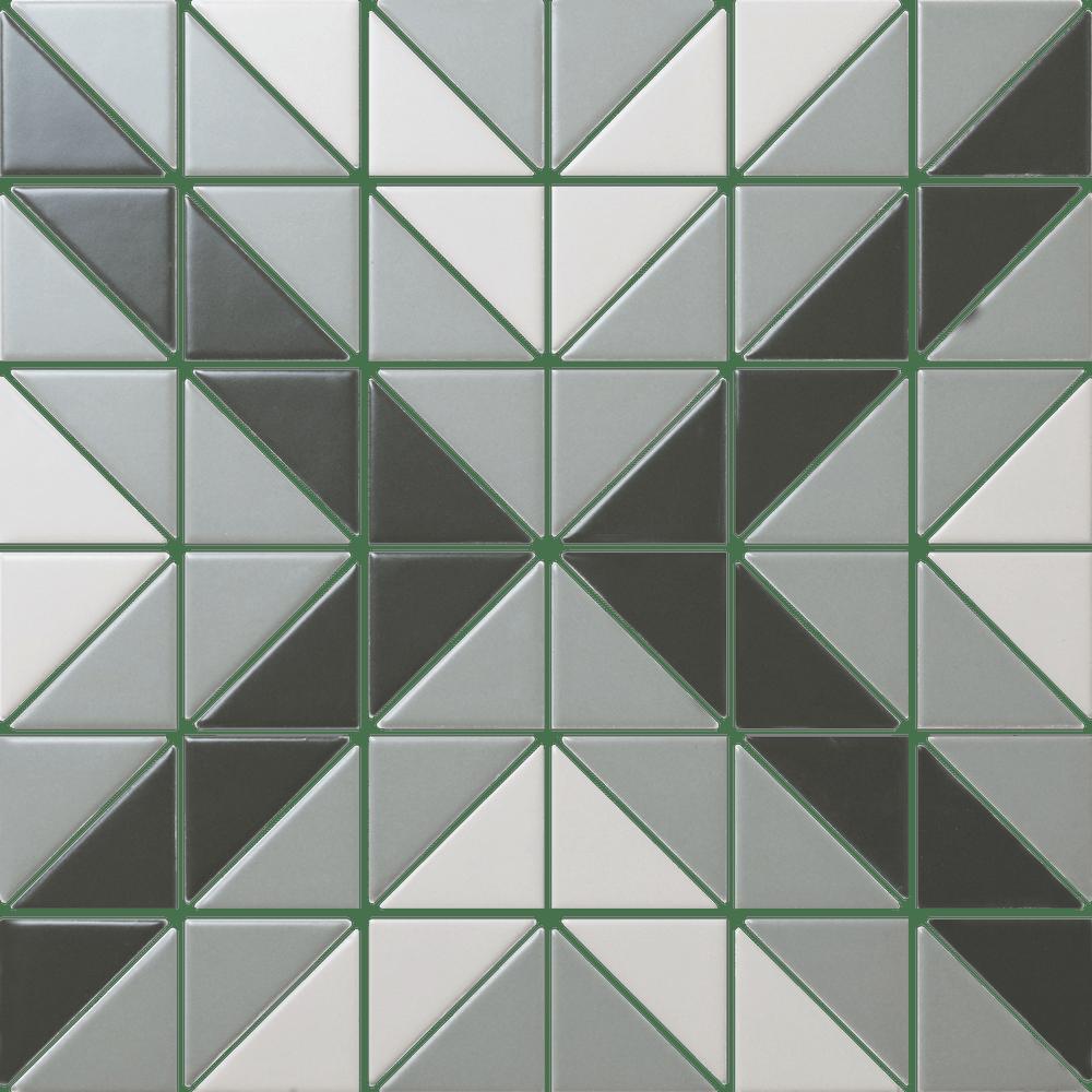 square geometric tiles backsplash