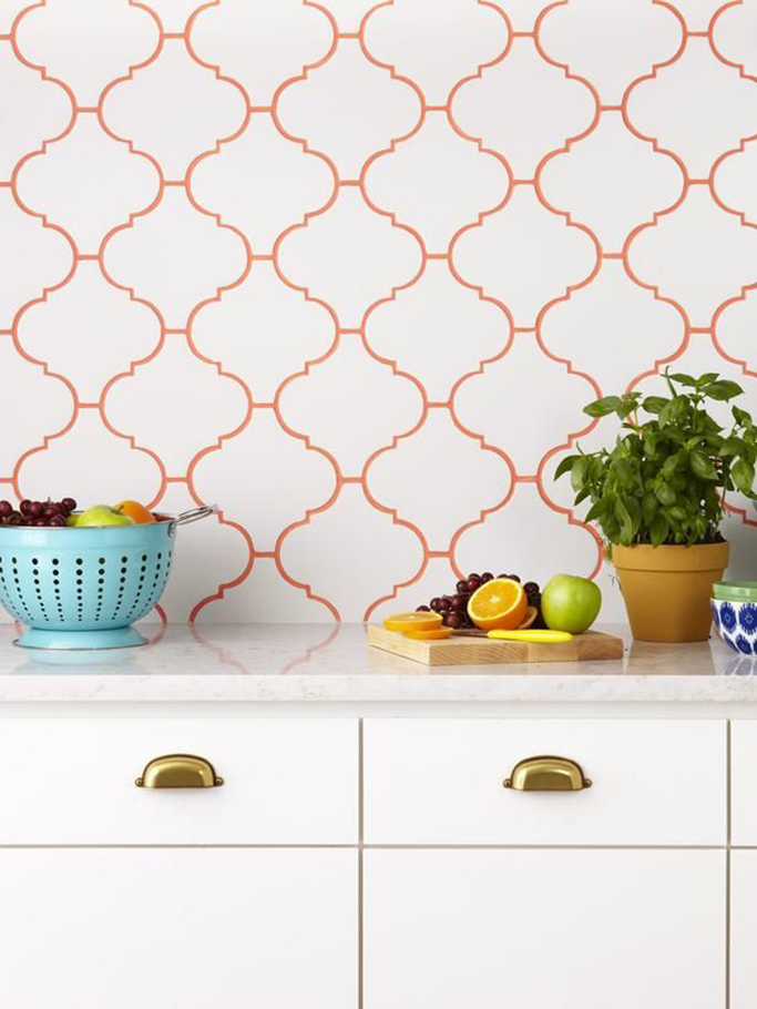 coloured grout in orangey red