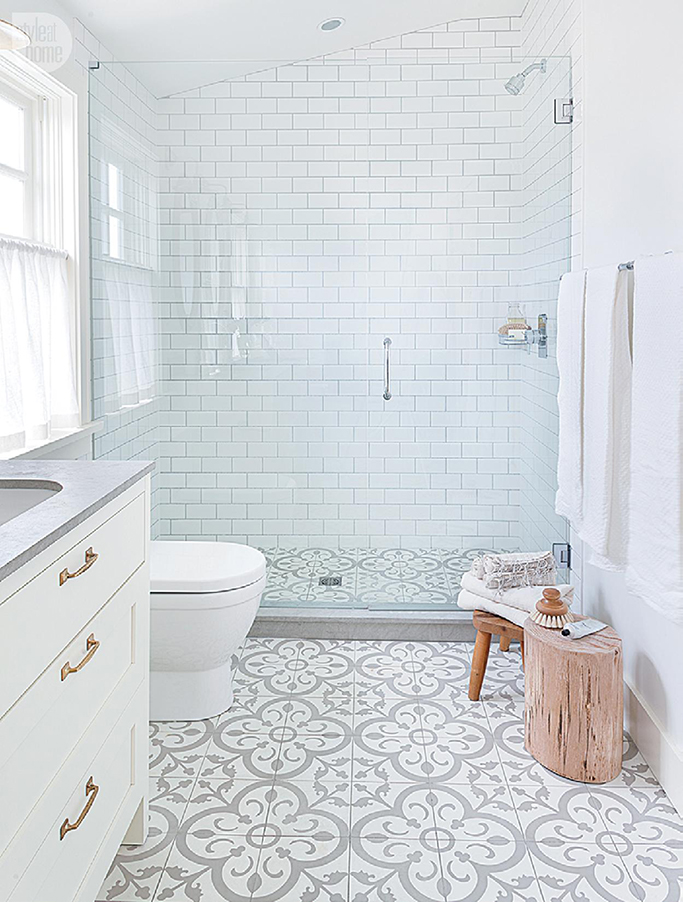 patterned floor tiles mixed with subway tiles