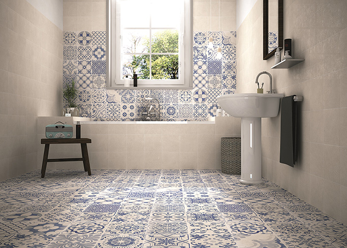 skyros white pattern wall and floor tiles