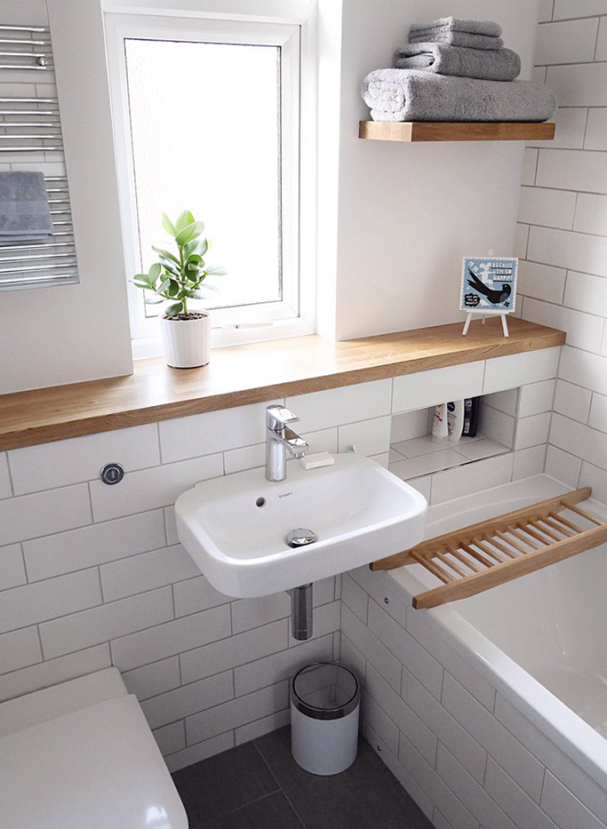 contemporary bathroom with incorporated storage