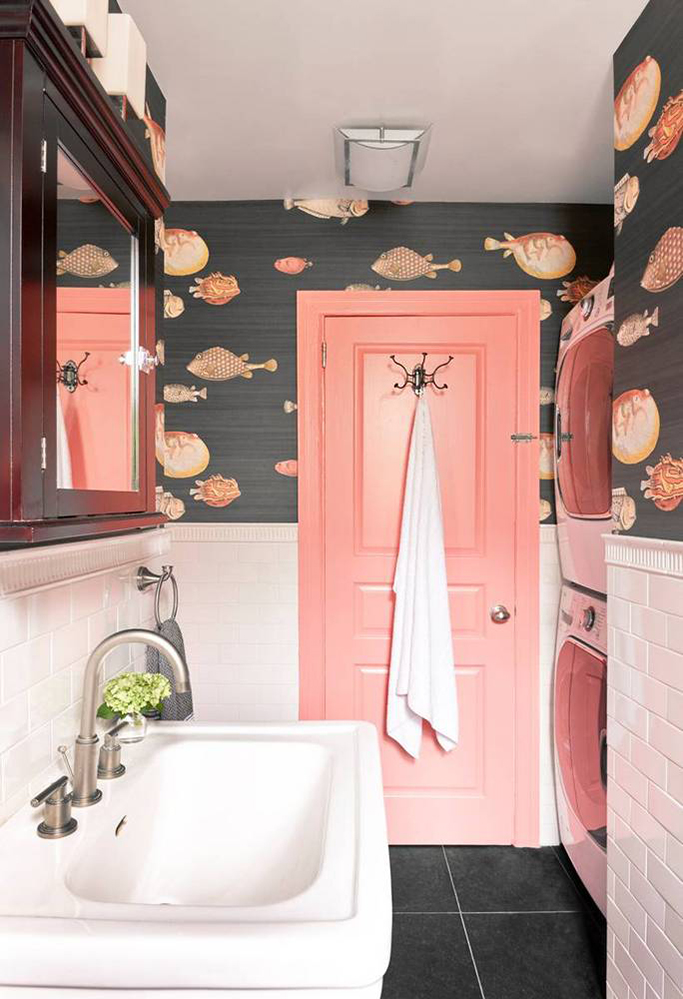 How To Combine Wallpaper And Tiles In The Bathroom Tile