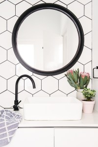 White Hex Tiles With Black Grout Tile Mountain