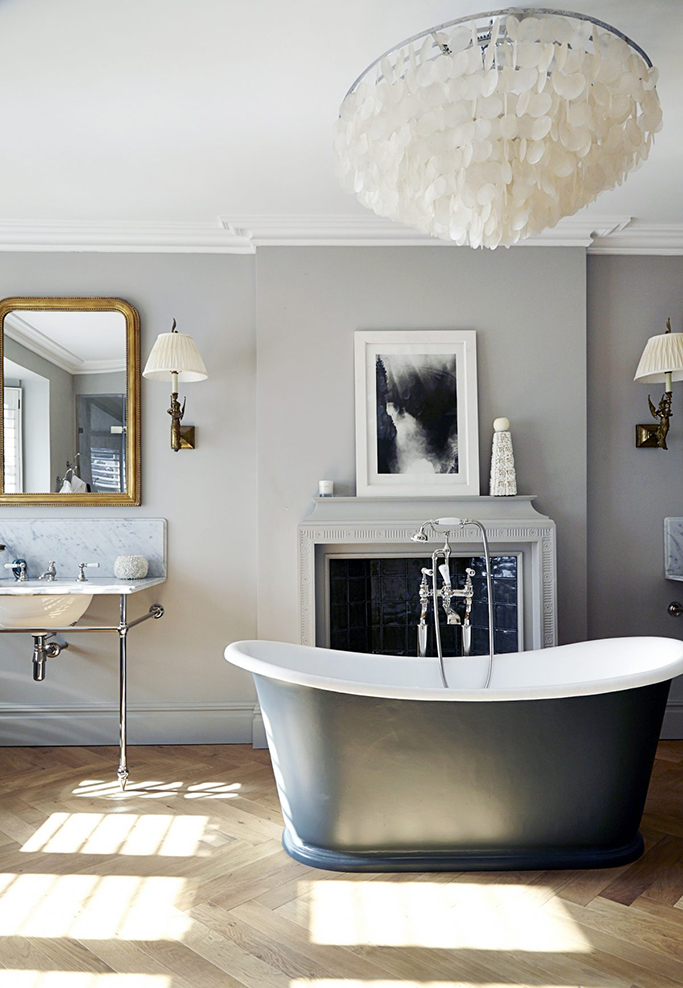 Chandelier in Bathroom Above Tub